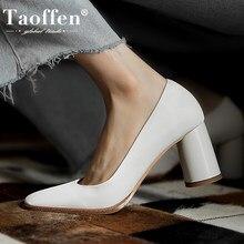 Taoffen – chaussures à talons hauts en cuir véritable pour femmes, escarpins à talons étranges, mode, chaussures de mariage, tailles 34 à 43, chaussures pour femmes