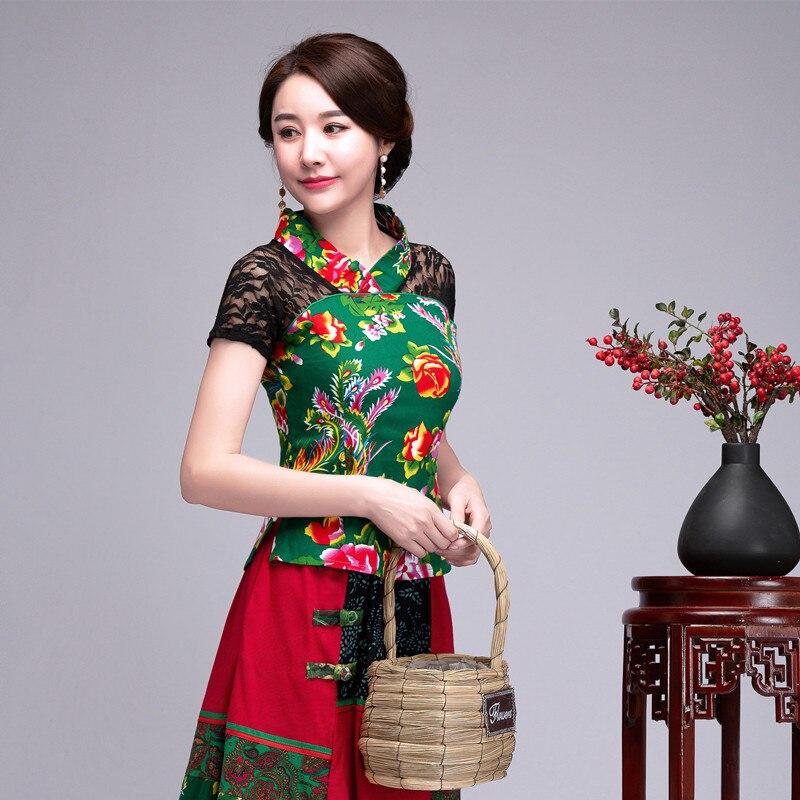 Green Summer Women Cotton Linen Shirt Top Chinese Style Lace Splicing Blouse Tradition Flower Frock M L XL XXL 3XL 4XL 5XL 6XL