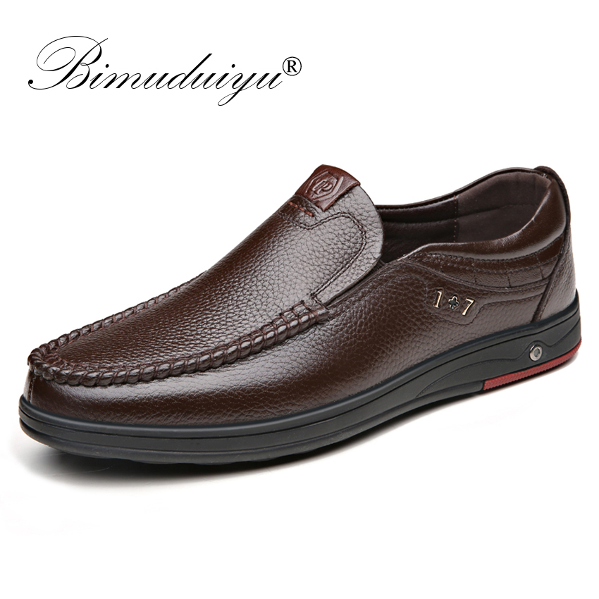BIMUDUIYU Genuine Leather Men's Casual Shoes Big Size 38-48 Loafer Design Driving Men Flat Footwear Slip On Mens Moccasin Shoes