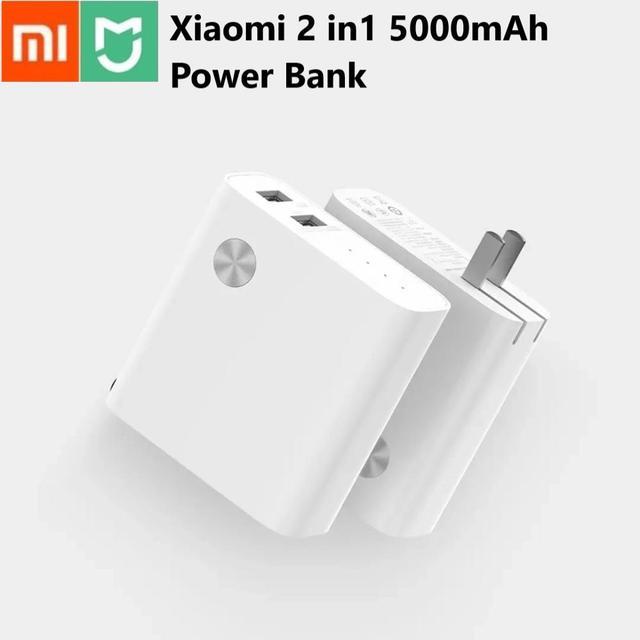 Xiaomi 2 em 1 carregador original, 5000mah, dual usb, carga rápida, 5v 3a, 5v 2.4a powerbank para iphone e samsung, telefone celular