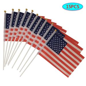 15pcs USA Stick Flag American US HandHeld Mini Flag Pole United States Hand Held Stick Flags Festival Events Banner #