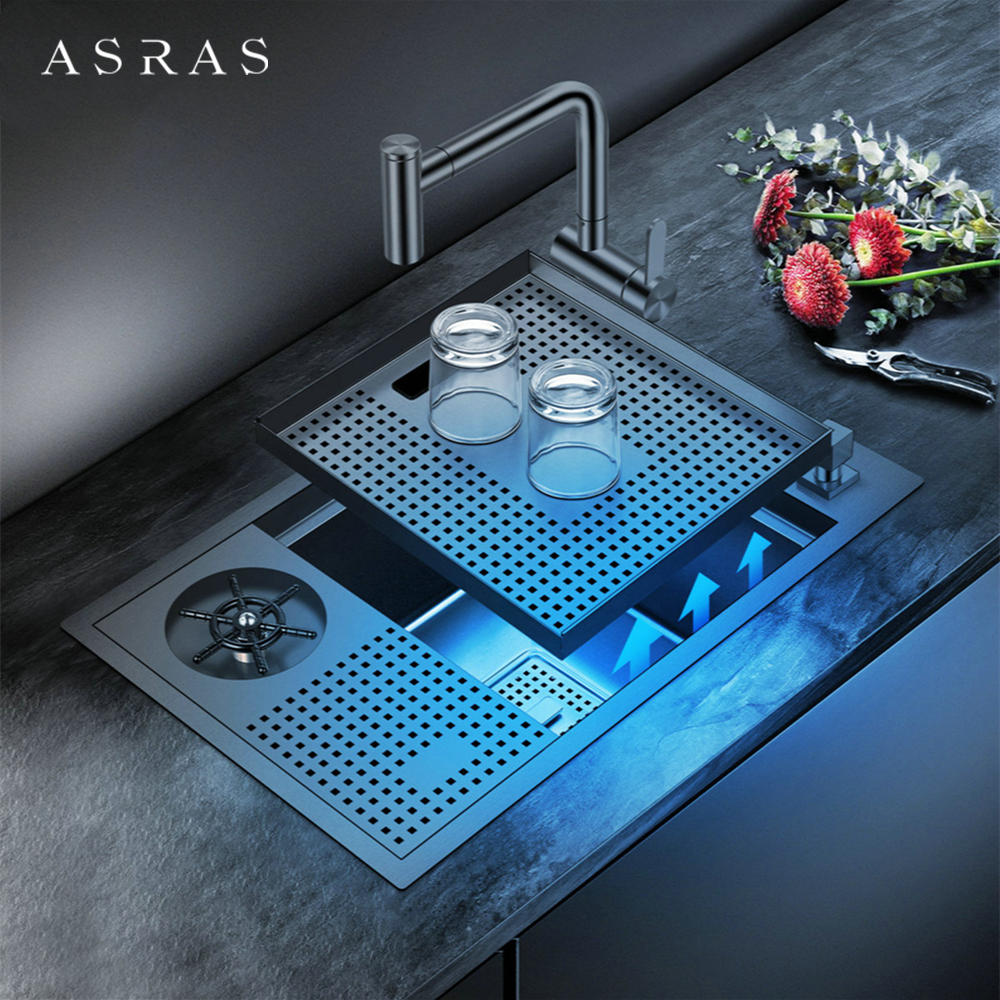 ASRAS-6038NX Nano Black Kitchen Sink with High-pressure Automatic Cup Rinser 304 Stainless Steel Wine Bar Cup Washer with Faucet