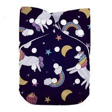 LilBit детский Печатный дизайн многоразовые моющиеся карманные тканевые подгузники