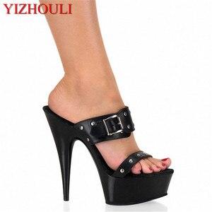 Zwarte Mode Kleur Blok Metalen Gesp Platform 15 Cm Ultra Hoge Hakken Slippers Vrouwen 6 Inch Lady Hoge-hakken Schoenen Sexy(China)