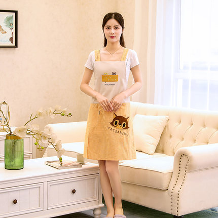 Korean Apron Home Kitchen Cover Clothes Pure Cotton Fashion Lovely Sleeveless Work Clothes Women Around The Waist Anti-fouling