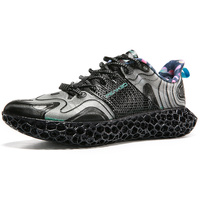 PEAK 3D FUTURE FUSION Men Fashion Casual Sneakers 3D Printed Shoes Limited Sale Black Trend Sports Shoes PEAK Outdoor Shoes