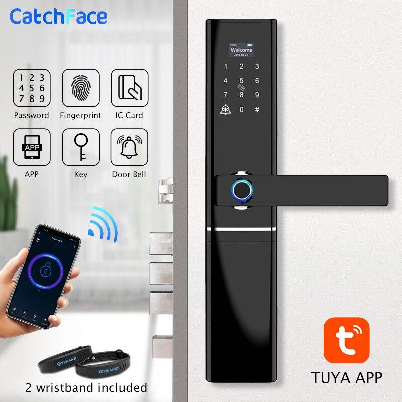 Tuya impressão digital fechadura da porta inteligente wi fi código rfid cartão chave fechadura eletrônica com campainha deadbolt lock para segurança em casa