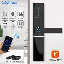 Tuya serrure de porte intelligente à empreintes digitales, Code wi fi, carte RFID, serrure électronique numérique, avec sonnette, boulon à levier, pour la sécurité à la maison