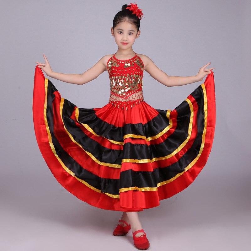 Children 's Belly Dance Costumes Kids Girls Spanish Flamenco Long Skirt Striped Bling Ballroom Stage Wear Performance Dress