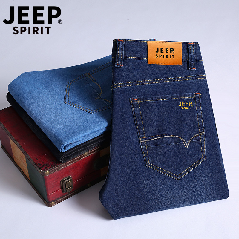 Nian Jeep Men Elasticity Slim Fit Jeans Men's Spring And Summer-Straight-Cut Casual Long Pants Men's Jp8002