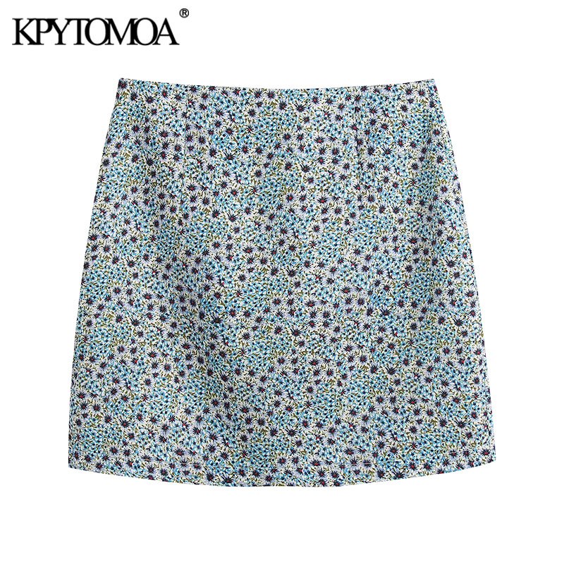 KPYTOMOA Women 2020 Chic Fashion Floral Print Skirts Vintage High Waist Back Zipper Female Skirts Casual Faldas Mujer