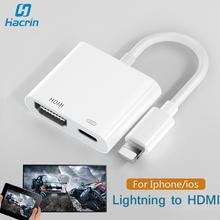 Adapter HDMI do Apple Lightning do cyfrowego adaptera AV ekran synchronizacji złącze HDMI z portem ładowania dla iphone #8217 a Ipad kabel HDMI tanie tanio hacrin HDMI Adapter For Iphone Ipad adaptador hdmi For iphone HDMI Adapter For Iphone 7 8 xr 11 xs x xs max For Ipad ipod HDMI Cable