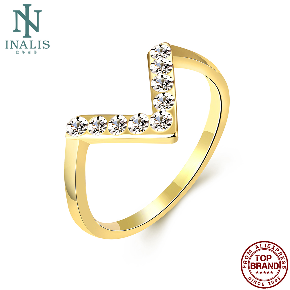 INALIS V Shape Romantic Rings For Women Gold Plated Simple Clear Cubic Zirconia Girl Ring Wedding Fashion Jewelry New Arrival