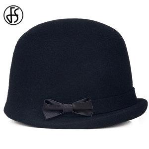 Image 5 - Дамская фетровая шляпка «колокол» FS, шляпа «котелок» из 100% шерсти, с загнутыми полями и декоративным бантом, для церкви, черная, зимняя, 2019