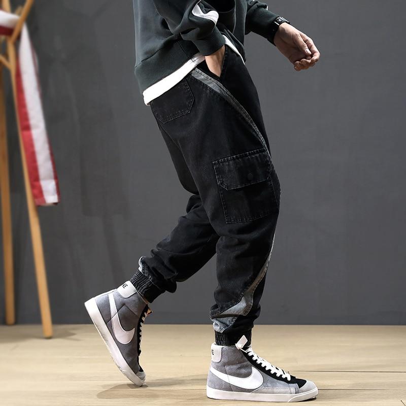 Fashion Streetwear Men   Jeans   Loose Fit Stripe Spliced Multi Pockets Cargo Pants Harem   Jeans   Men Japanese Hip Hop Joggers   Jeans