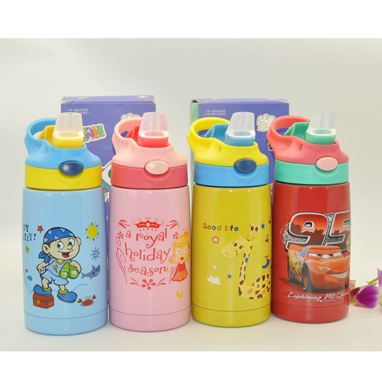 Children Xiao Jing Zi Insulated Cup 304 Stainless Steel Straw Cup Baby Nursery Hand Cute Cartoon Cup