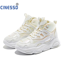 Women Shoes Luminous Colorful Vulcanize Yellow Glitter High Top Chunky Sneakers White Basket Femme Daddy