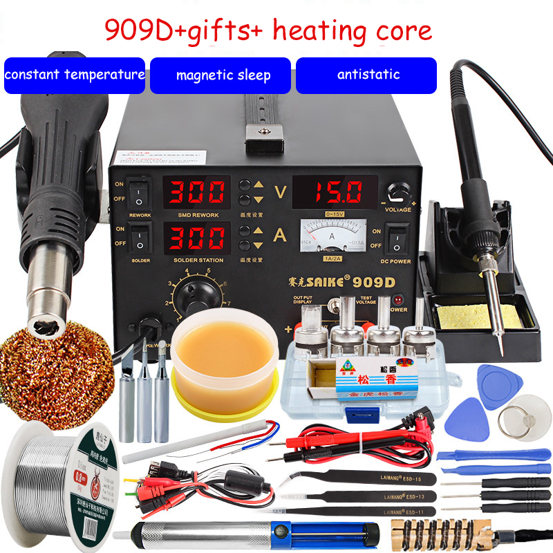 Saike 909D Soldering Iron  220V 110V Hot Air Gun Station+Soldering Iron+DC Power Supply 3in1 Electric Rework Station Adjustable