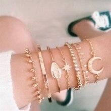 Богемные женские браслеты, луна, Геометрическая бахрома, звезда, корпус, стрелка, кристалл, открытый золотой браслет, набор, Модные женские вечерние ювелирные изделия, подарки
