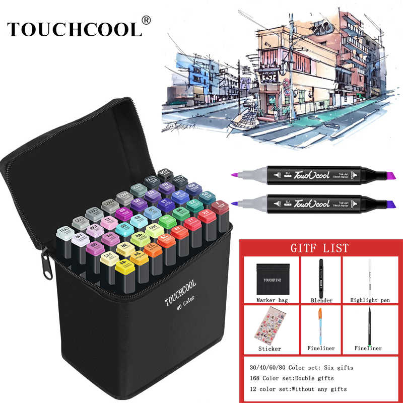Touchcool 30 40 60 80 Color Sketch Marker Alcohol Markers Art Drawing Manga Dual Tips Marker Pen Set Black Body Art Supplier Aliexpress