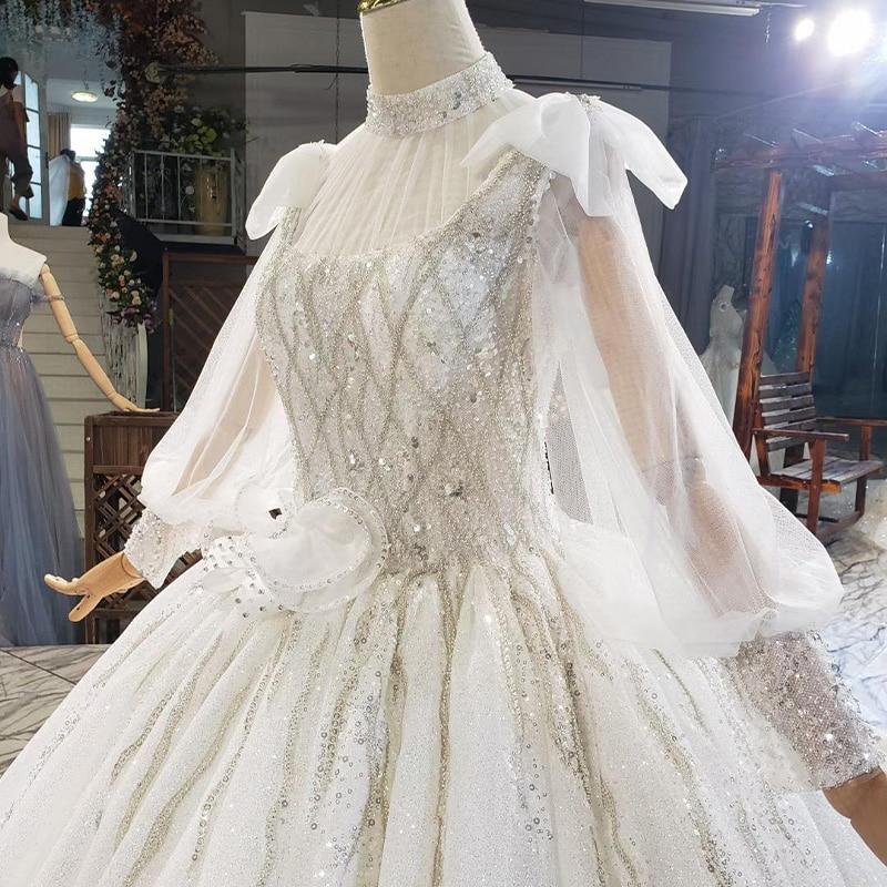 HTL1812 Luxurious Sequined Beading Cloak Wedding Dress 2020 High Neck Long Puff Sleeve Ball Gowns robe femme mariage 6