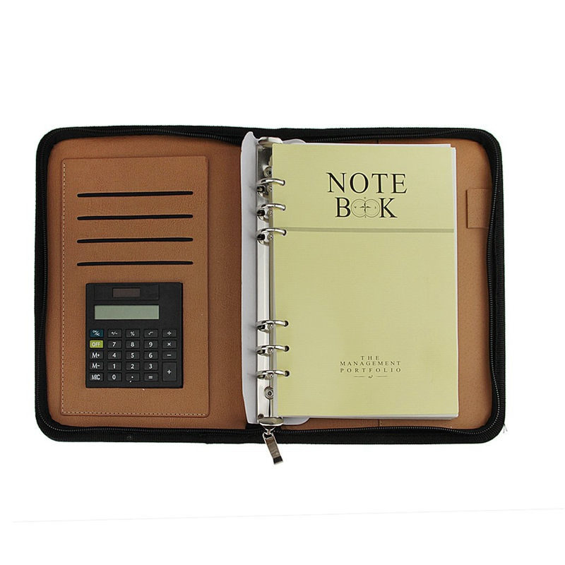 A5 PU Leather Executive Zippered Business Planner Binder Organizer Packet Portfolio With Calculator For Businessman Or Interview