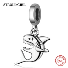Ocean Collection Beads Shark Charms Fit authentic European Bracelet 925 Sterling Silver Jewelry Fashion for women gift