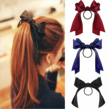 Chiffon Bowknot Hair Bands Solid Color Silk Scrunchies Women Ponytail Holder Rope Tie Hair Elastic Rubber Bands Hair Accessories