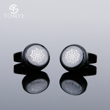 TOMYE  Matte Black Pattern Round Suit Shirt Unique Wholesale Cufflinks Men Custom XK19S114