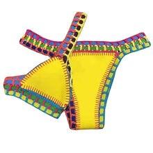 Conjunto de biquíni reversível, roupa de praia feminina cintura baixa feita à mão, maiô de malha, maiô