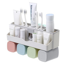 Toothpaste Dispenser squeezer Toothbrush Holder No Drill Wall Mount Bathroom Storage Rack Accessories Sets