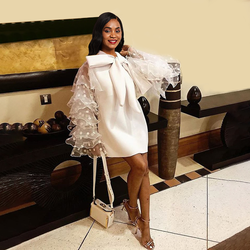 Big Size Elegant Party OL Lady Orange Vintage High Street Women Mini Dresses Casual Ruffle Sleeve Mesh Bow Female Fashion Dress