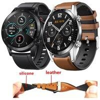 Leer + Siliconen Armband Band Voor Huawei Honor Magic Horloge 2 46 Mm Horloge Band Voor Huawei Horloge Gt 2 honor Magic 2 Correa
