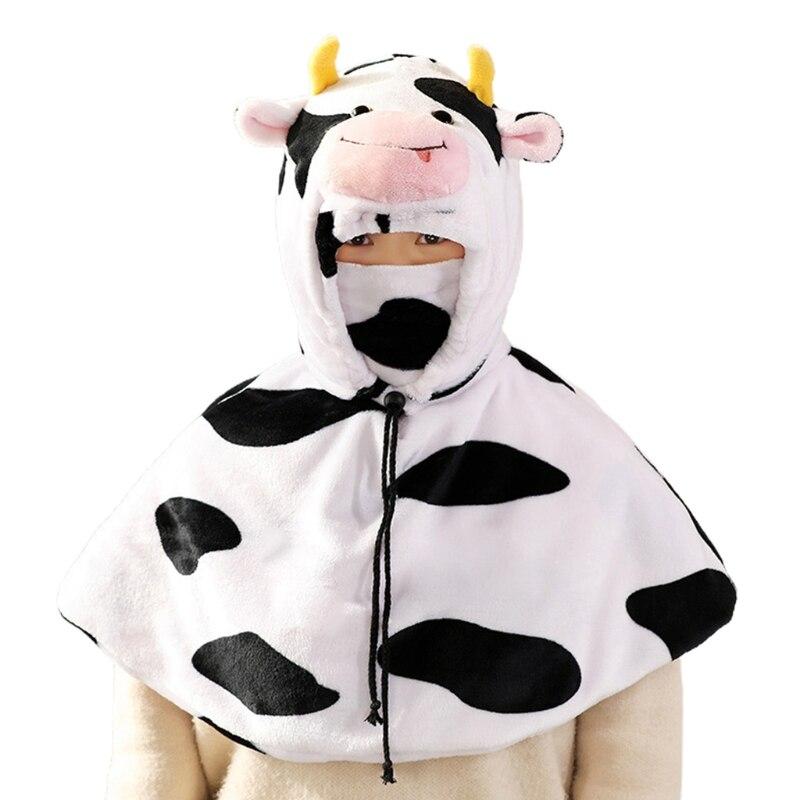 Cartoon Animal Hooded Cape with Face Mask Set Fuzzy Plush Warm Hat Shawl Cloak