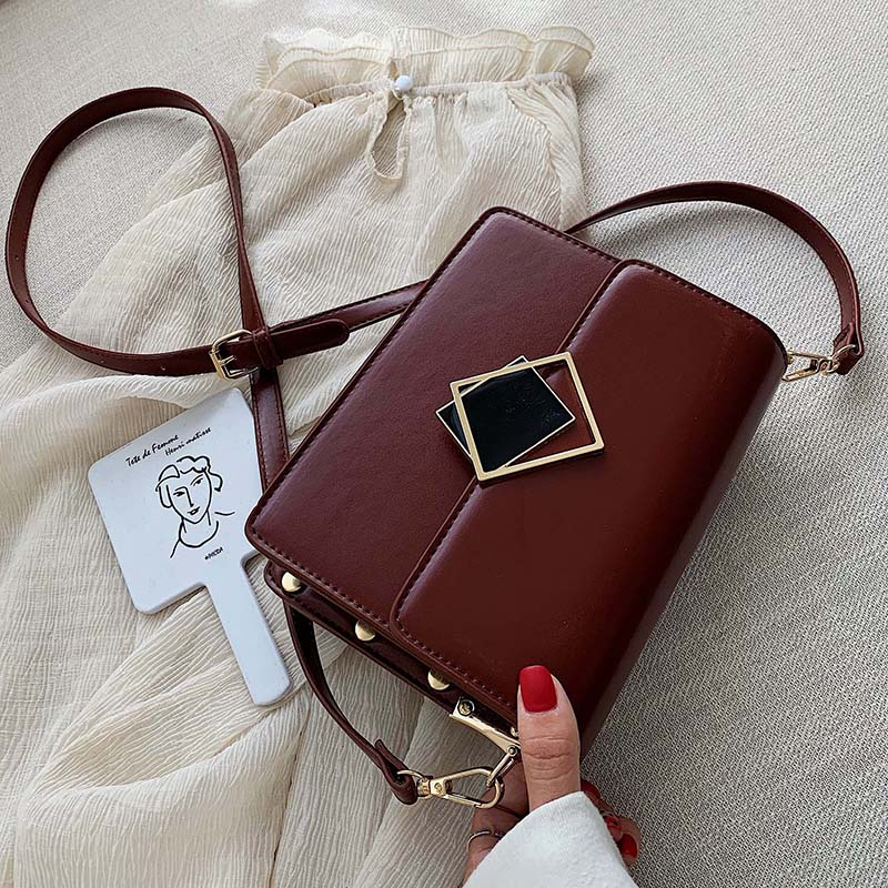 Solid Color PU Leather Small Crossbody Bags For Women 2020 Shoulder Messenger Bag Lady Designer Lock Handbags And Purses