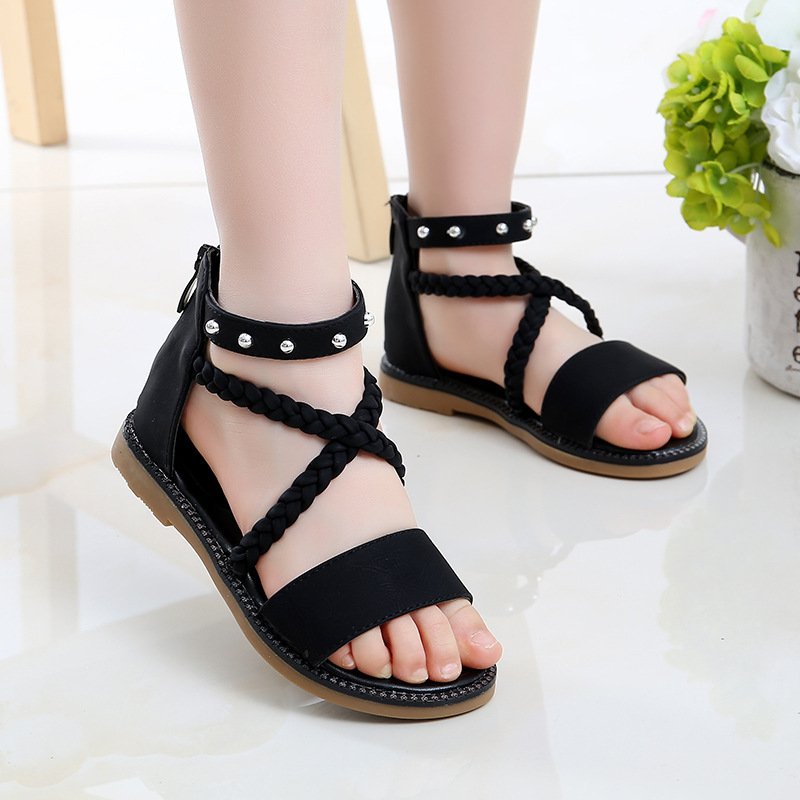 Fashion Rivets Kids Girls Summer Shoes 2020 Leather Sandals Girl Beach Sandals For Child Princess Rome Shoe 4 5 6 7 8 9 10 11 12
