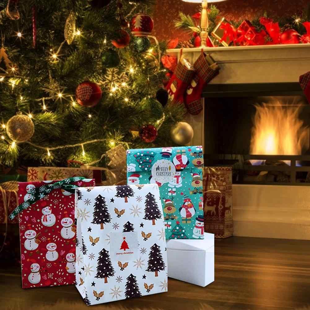 2020 Рождество Санта-Клауса и снеговика медведь лося Пингвин Подарочный пакет Puoch рождественские конфеты держатель Новинка; Лидер продаж Продукты 22 см x 15 см 1/10 шт