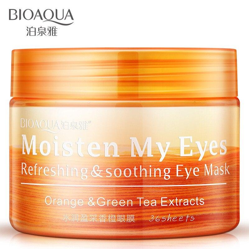 BIOAQUA 36pcs/Bottle Orange&Green Tea Extracts Eye Mask Patch Moisturizing Anti Wrinkle Remove Eye Pouch Fine Lines Fading