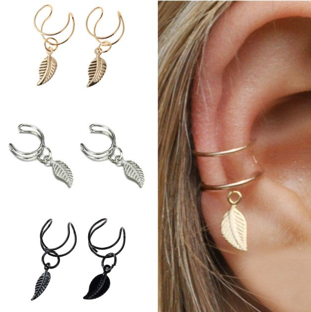2019 Fashion Simple Ear Cuffs For Women Gold Leaf Ear Cuff Clip
