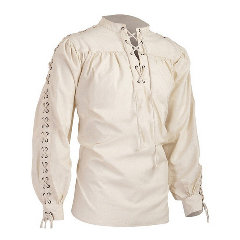 CYSINCOS Men's Tops Vintage Shirt Medieval Gothic Shirt Off White Solid Long Sleeve Pullover Pleated Tops Viking Renaissance