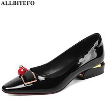 ALLBITEFO real genuine leather spring autumn high heel shoes Pure color fashion women heels office ladies shoes high quality