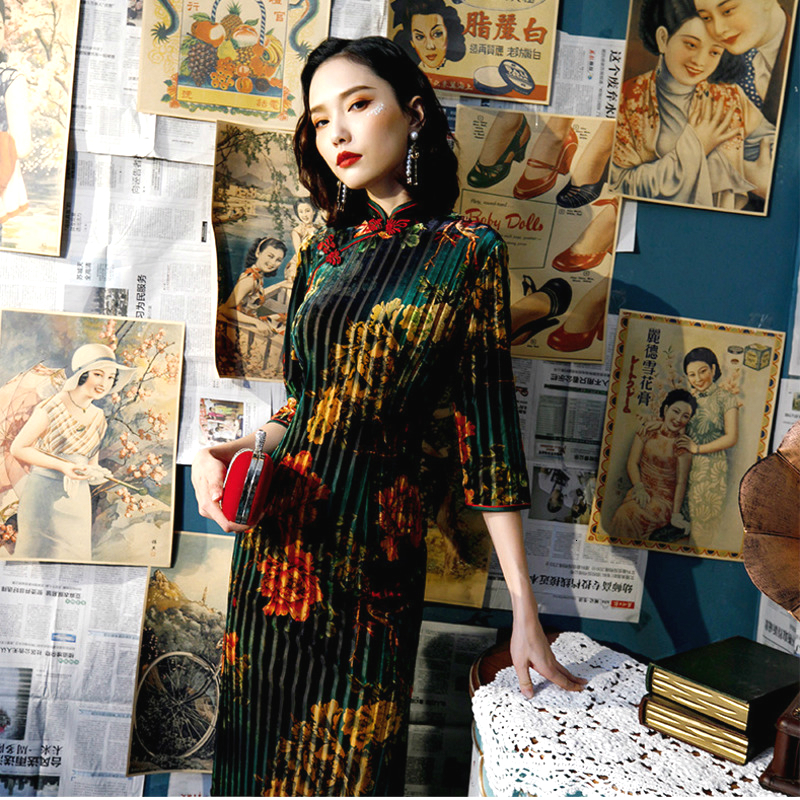 Sheng Coco Elastic Plus Size Velvet Qipao Dresses Evening Cheongsam 5XL 4XL New Flexible Modern Long Dress Woman China Costume
