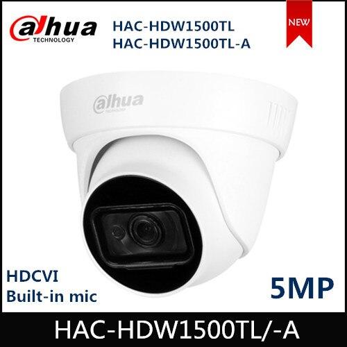 Dahua 5MP HDCVI Camera IR Eyeball Camera HAC-HDW1500TL HAC-HDW1500TL-A Built-in MIC Smart IR 30m Waterproof IP67 HDCVI Camera