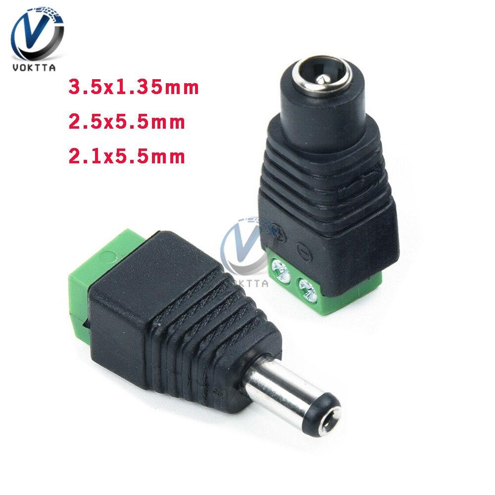 1 ensemble 12V 24V mâle et femelle prise d'alimentation cc 2.1x5.5mm 3.5X1.35mm 5.5x2.5mm CCTV Jack adaptateur connecteur prise TV adaptateur de Conversion