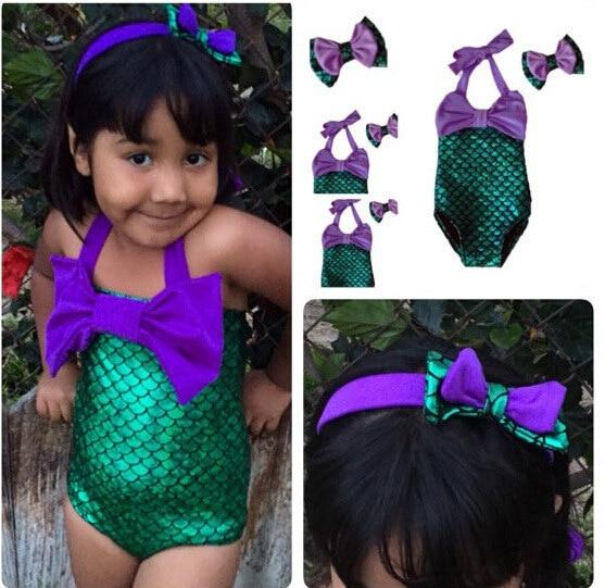 Children Scale Tour Bathing Suit Girls One-piece Bathing Suit Two-Piece Swimwear Mermaid Swimsuit