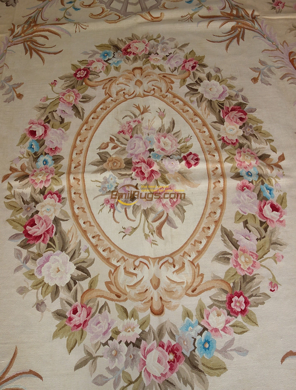 French Aubusson Carpets 109b 8x10 2 9x12 2 PASTEL  PINK ROSE Country Style Cream Gc8aub Yg13