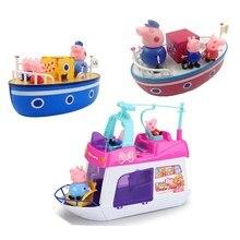 פפה חזיר צעצועי שיט ספינה DiY דגם פפה חזיר משפחה אנימה איור צעצוע סט פלסטיק פעולה איור צעצועים לילדים יום הולדת מתנה