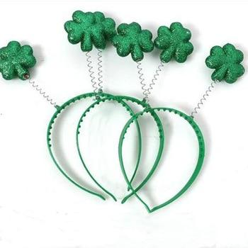 David accessories 16*21mm Saint Patrick Green Glitter Top Headband Ornaments Clover Party st patrick's day,1Yc8713 1