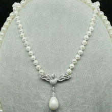 free shipping noble jewelry huge 9-10mm AAA Freshwater natural white pearl pendant 925silver shell pendant jj(China)