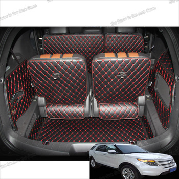 lsrtw2017 for ford explorer leather car trunk mat mat cargo liner 2011 2012 2013 2014 2015 2016 2017 2018 2019 interior boot 5 for lada largus 2012 2018 trunk mat floor rugs non slip polyurethane dirt protection interior trunk car styling